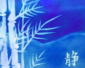 Blue Asian Japanese ACEO Kanji Serenity Giclee Limited Edition Print   by Karen J. Kolnes Blue Halo