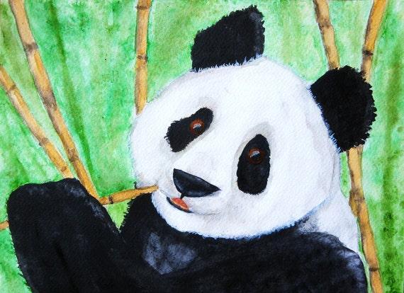 ACEO Panda Bamboo Abstract by Karen J. Kolnes Giclee Limited Edition Print
