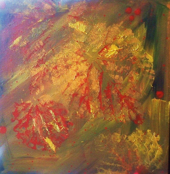 Autumn Leaf Fall Abstract Acrylic Canvas Textured Red Yellow Green 8 x 8 inch Original
