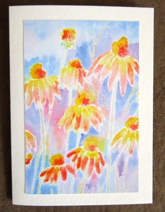 Daisies Abstract  Pastel Pink Orange Greeting Card Blank