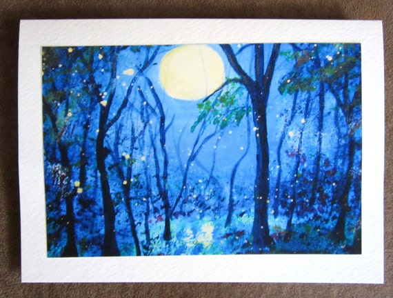 Abstract Blue Moon with Fireflies Blank Greeting Cards