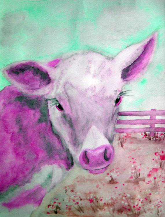 ACEO Pink Cow Limited Edition Print  Springtime Calf Farm by Karen J. Kolnes