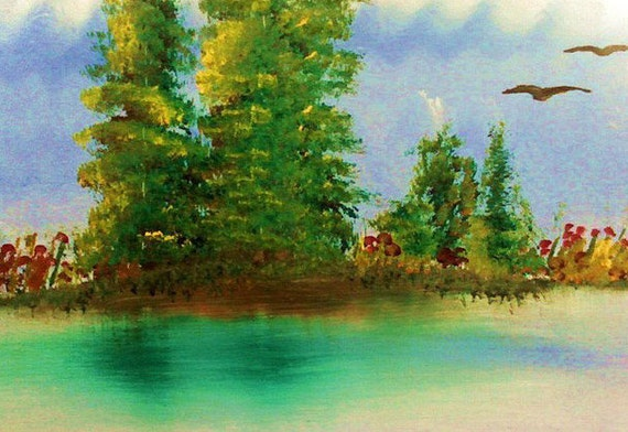 Green Water Trees Abstract ACEO Giclee Limited Edition Print  by Karen J. Kolnes Morning Calm
