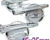100PCS 25mm Silver plated metal two ways brooch clip (1-30-02)