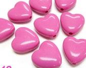 60PCS 13MM Opaque plastic heart shape bead Pink (11-19-321)