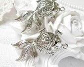 10PCS high quality Antique silver goldfish metal charms pendants NICKEL FREE (17-1-236)