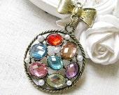 1PCS metal rhinestone ribbon bow top charms pendants (20-1-243)