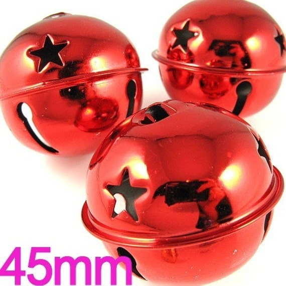 3 PCS Extra Large Metal Bells charms 45mm Red (9-7-17)