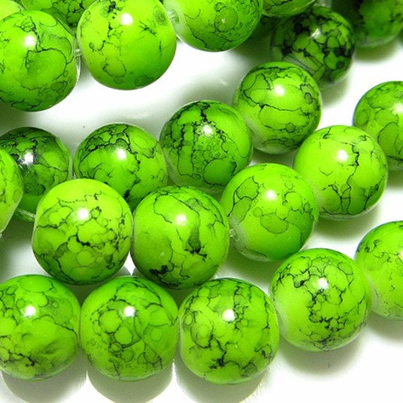 100PCS 8MM Smooth patterned glass beads Green (9-25-009)