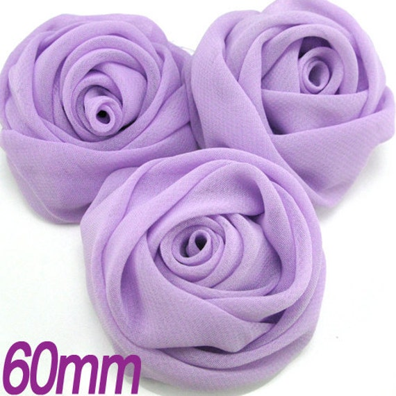 3PCS 60mm Chiffon rose flower fabric sewing Lavender (9-13-36)