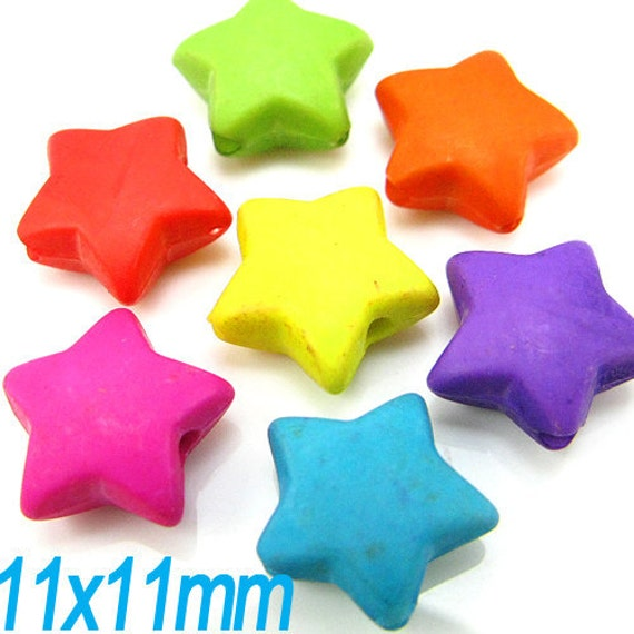 100PCS 11mm Opaque frost chubby star plastic beads (11-19-256)