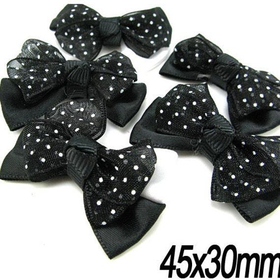 10PCS 45x30mm Satin with polka dot pattern organza ribbon bow Black (5-11-163)
