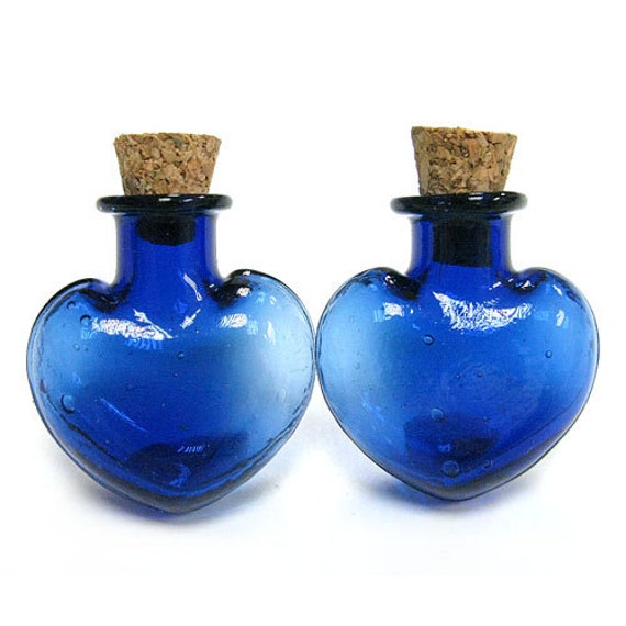 5PCS 25x20mm Tiny colored heart glass vials bottle clear message bottle charms Blue (6-10-41)