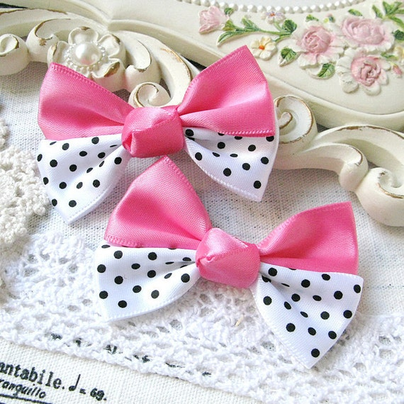 5PCS 60x45mm Satin ribbon bow with polka dots Pink (5-11-223)