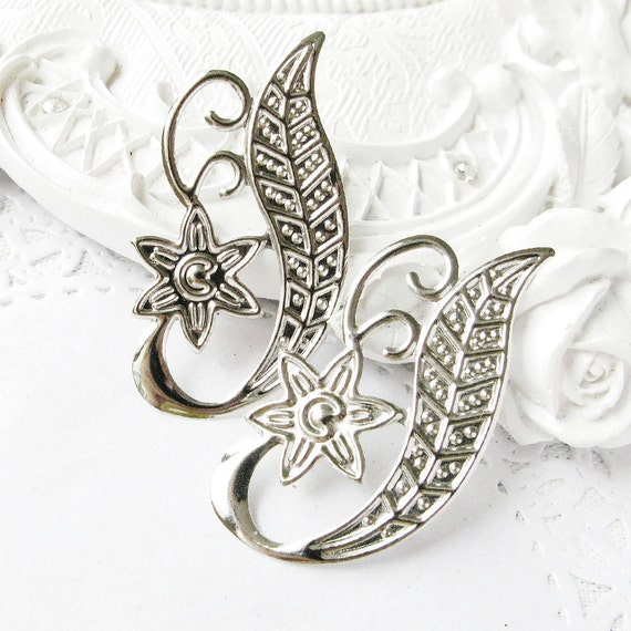 10PCS Silver plated openwork slice charms metal pendant - filigree stamping 43x23mm (1-21-93)