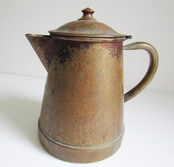 Antique Brass Coffee Pot Decorative Rustic Cabin Decor Hinged Top