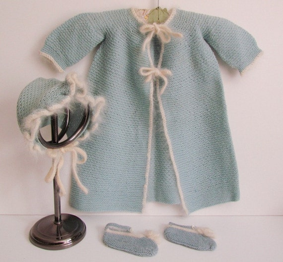 Vintage Blue Newborn Sweater Coat Hand Knit Heirloom Baby Sweater Photo Shoot Prop Blue White Trim Hat Booties Long Coat