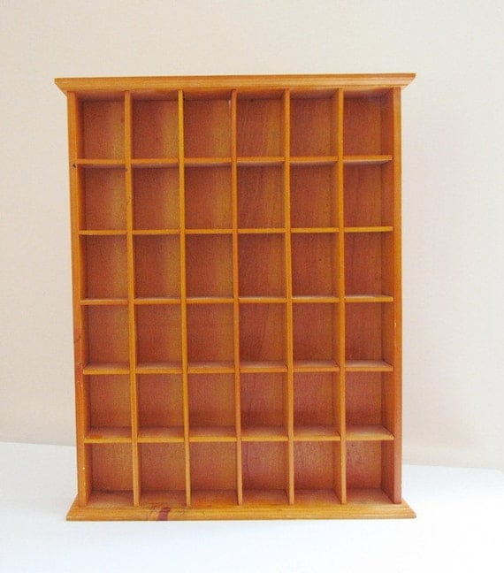 Vintage 36 Nook Display Case Wooden Wall Mount Shelf Rustic Cabin Shadow Box Decor Father's Day Gift