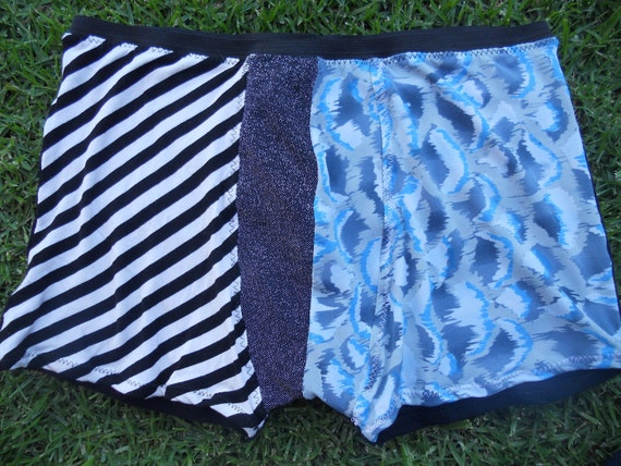 Sparkle Crotch Boxer Briefs, black and white diagonal stripe teamed with blue and grey pattern (front), black (back), size medium