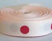 5 Yards Side Show Rose with Shocking Pink Dippy Dots 3/8 Grosgrain Ribbon