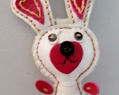 Leather White Rabbit Keychain