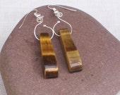 Tigers eye Earrings, Gemstone Earrings, Handmade Jewelry, Brown Earrings