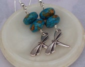 Howlite Earrings with Dragonfly, Sterling Silver, Turquoise Earrings, Handmade Jewelry