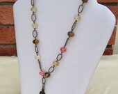 Antique Brass With Quartz Necklace, Gemstone Necklace, Pink, Brown, Clear Necklace, Handmade Jewelry