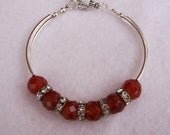 Carnelian, Rhistone Vintage rings, Silver tone Curved Tubes Bangle Bracelet, Handmade Jewelry, Gemstone Bracelet, UK Seller