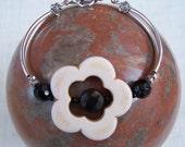 Howlite White Flower and Black Obsidian Bracelet with Silver Tone Curved Tubes, UK Seller