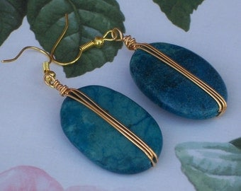 Handmade Turquoise Dangle Earrings, Gemstone Earrings, Handmade Jewelry