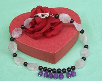 Rose Quartz, Purple Jade and Garnet Necklace, Gemstone Necklace, Purple, Red and Pink Necklace, UK Seller
