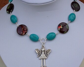 Turquoise, Mother of Pearl and Angel Pendant Necklace, Gemstone Necklace, Handmade jewelry
