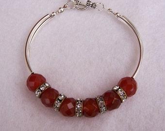 Carnelian Bracelet, Vintage Style Bracelet, Brown Bracelet, Gemstone Bracelet, Handmade Carnelian Bracelet