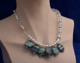 Clear Quartz, Freshwater Pearls, Serpentine Necklace, Odd Necklace, Gemstone Necklace, White and Green Necklace, Handmade Jewelry, UK Selle