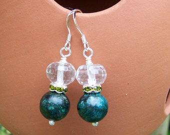 Gemstone Earrings, Clear Quartz and Chlorite Earrings, Clear and Green Earrings, Handmade Jewelry