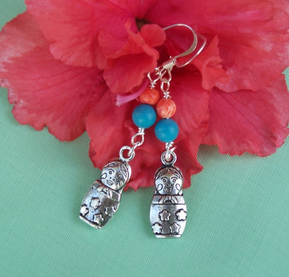 Turquoise and Coral Earrings with Russian Doll charm, Gemstone earrings, UK seller