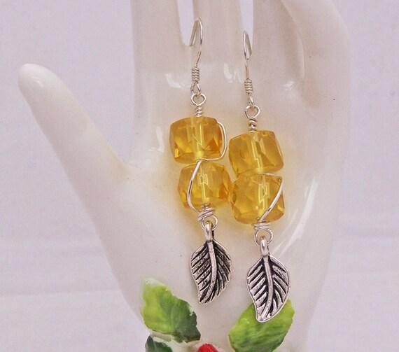Citrine Earrings, Wire Wrapped Earrings, Gemstone Earrings, Leaf Earrings, Gemstone Earrings, Yellow Earrings, Handmade Jewelry