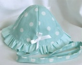 For Salome - Mint polka dot baby sunhat with frill and bow ties