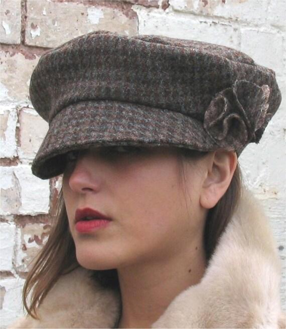 Harris tweed wool brown lined cap with trim