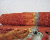 Handwoven Scarf 'The Burnt Orange Rainbow' Woven with Cotton and Eco-Conscious Fibers