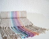 Handwoven Scarf - Cotton and Eco Friendly Fibers Pinks and Blue - 'Clouds at Sunset' - SameheartDesigns