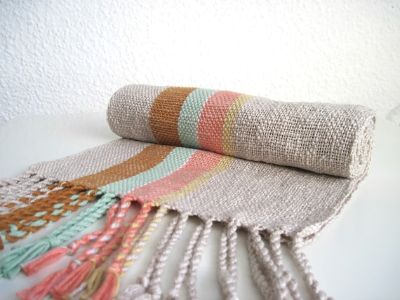 Mint and Coral Handwoven Cotton Scarf