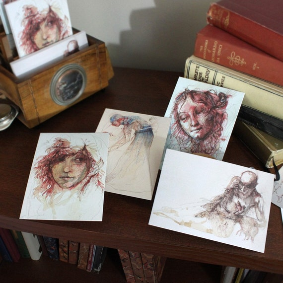 Signed Set of 4 Postcards by Artist Carne Griffiths