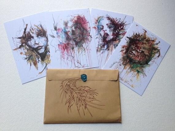 Limited Edition Winter Pack of 4 Unique Matt Postcards