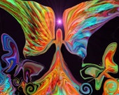 Angel Art Reiki Butterflies Energy Art Print Psychedelic Wall Art 8 x 10