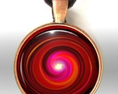 Red Necklace Chakra Swirl Reiki Jewelry Energy Art Pendant Necklace