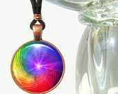 Rainbow Chakra Swirl Pendant Necklace Spiritual Energy Art Reiki Jewelry