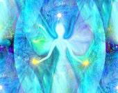 "Reiki Angel Chakra Art, Blue Teal Wall Decor, Energy Art Print ""Aura Angel"""