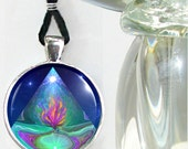 Violet Flame Reiki Energy Necklace Pyramid Chakra Jewelry Silver